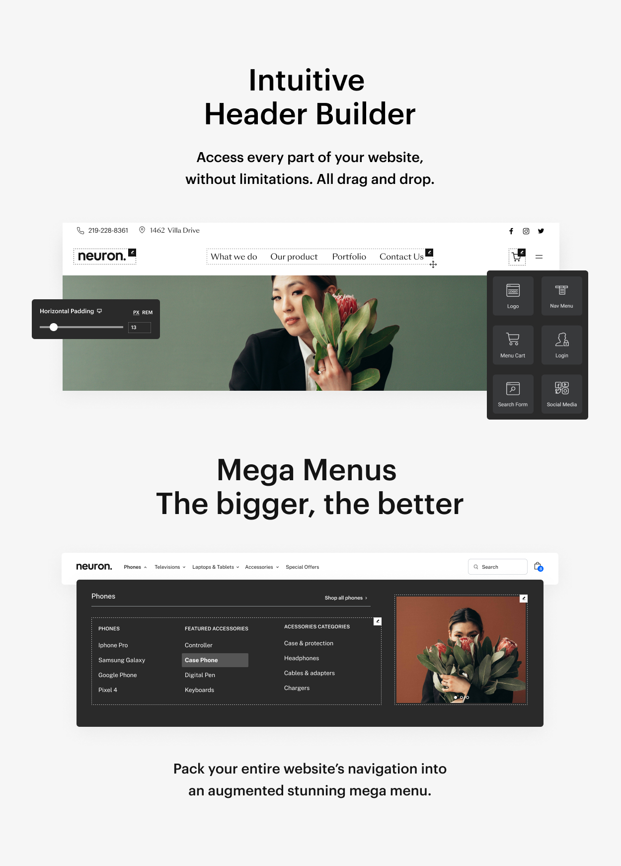Kaon WordPress Theme - Header Builder & Mega Menu