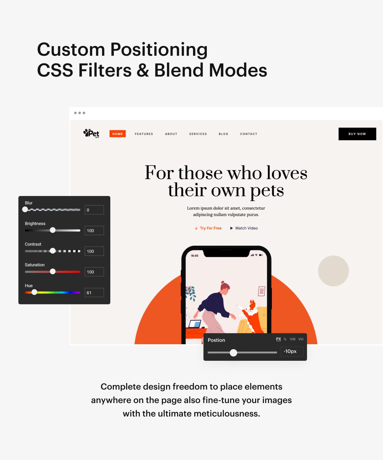 Kaon WordPress Theme - Custom Positioning